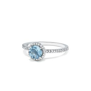 Кольцо с аквамарином и бриллиантами - Фото 1