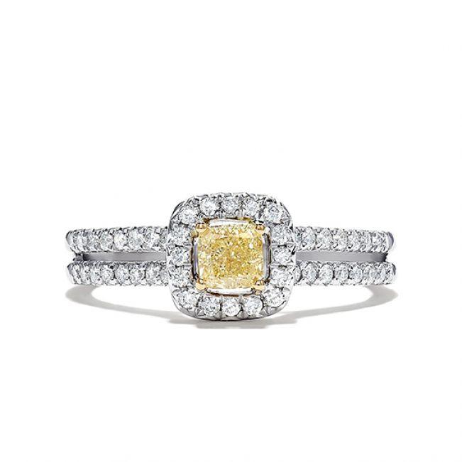 Кольцо с желтым и белыми бриллиантами 0.88 кт
