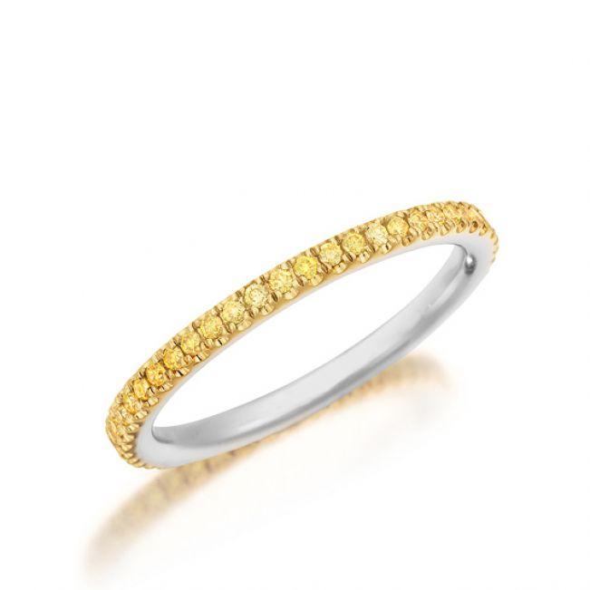 Кольцо дорожка с желтыми бриллиантами по кругу