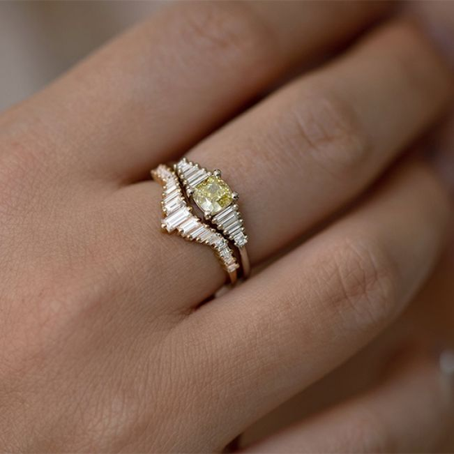 Кольцо с желтым бриллиантом - Фото 3