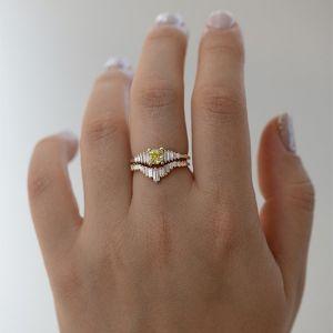 Кольцо с желтым бриллиантом - Фото 4