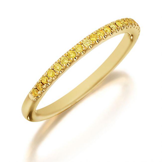 Кольцо полудорожка с желтыми бриллиантами