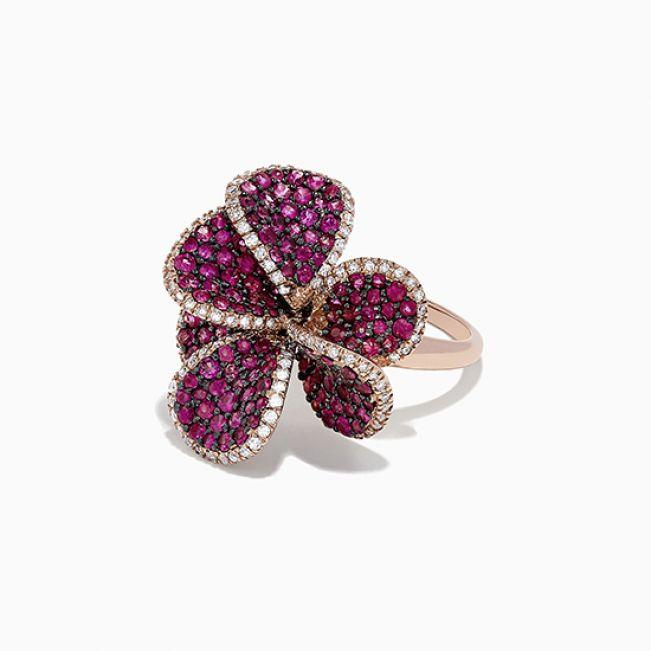 Кольцо с рубинами Цветок - Фото 1