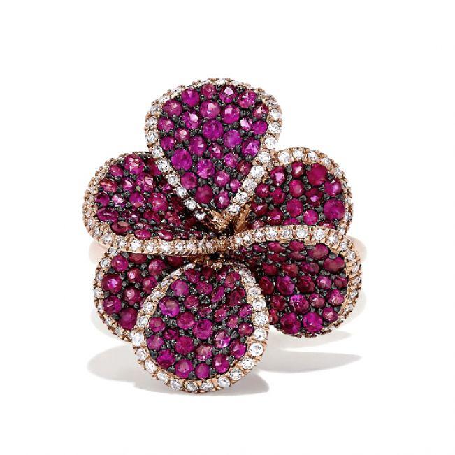 Кольцо с рубинами Цветок