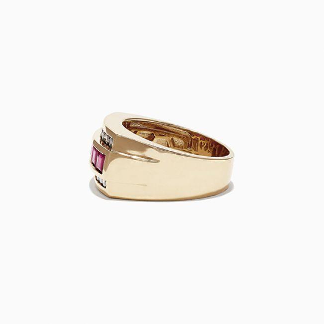 Мужское золотое кольцо с рубинами - Фото 2