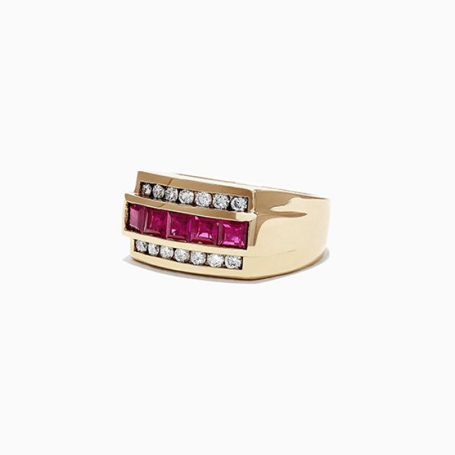 Мужское золотое кольцо с рубинами - Фото 1