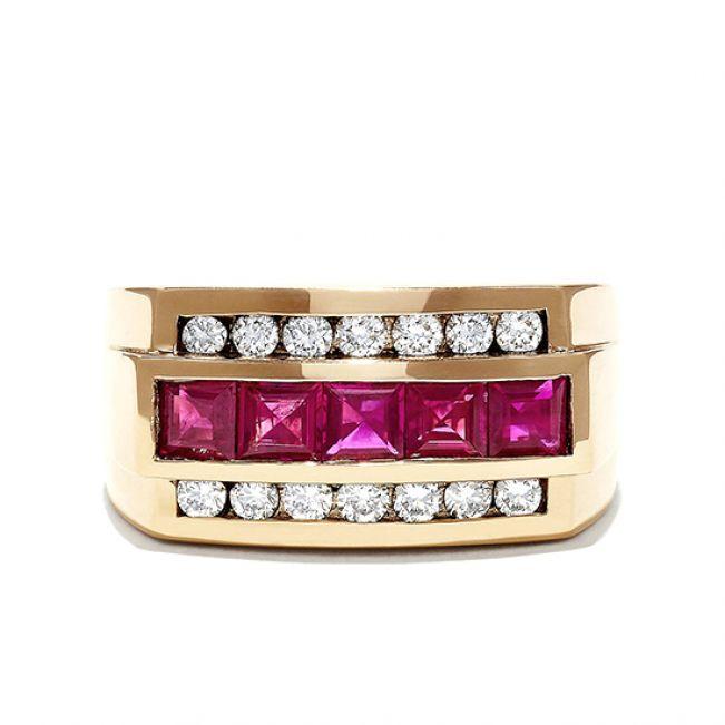 Мужское золотое кольцо с рубинами