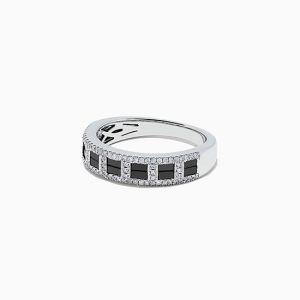 Широкое кольцо с черными и белыми бриллиантами