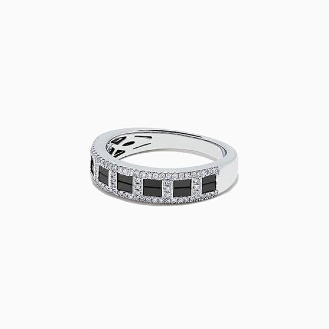 Широкое кольцо с черными и белыми бриллиантами - Фото 1
