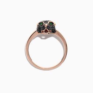 Кольцо Пантера с черными бриллиантами и изумрудами из розового золота - Фото 2