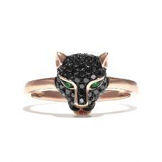 Кольцо Пантера с черными бриллиантами и изумрудами из розового золота