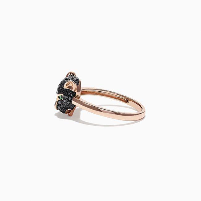 Кольцо Пантера с черными бриллиантами и изумрудами из розового золота - Фото 1