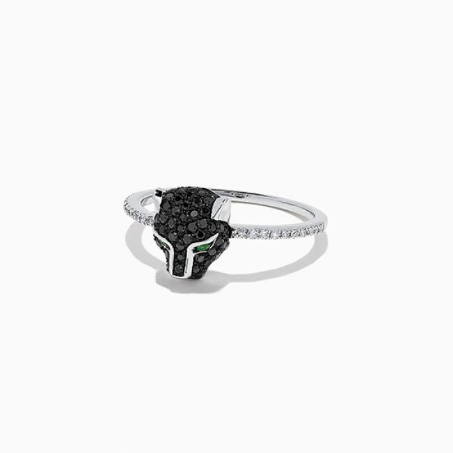 Кольцо Пантера с бриллиантами и изумрудами - Фото 1