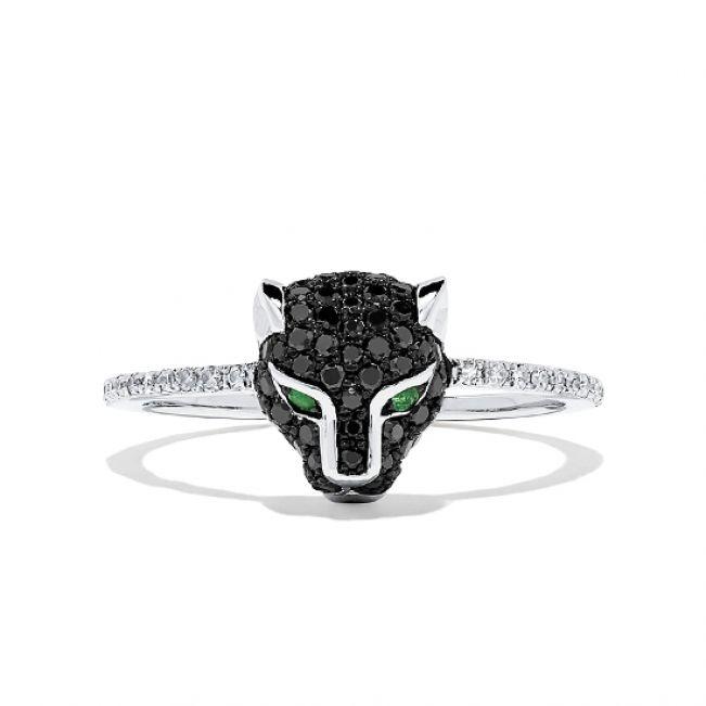 Кольцо Пантера с бриллиантами и изумрудами