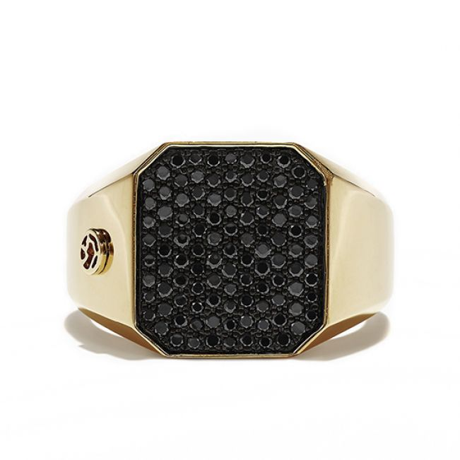 Кольцо печатка с черным бриллиантом
