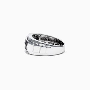 Мужское кольцо с белыми и черными бриллиантами - Фото 2