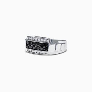Мужское кольцо с белыми и черными бриллиантами - Фото 1
