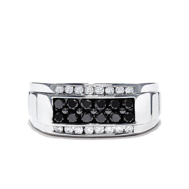 Мужское кольцо с белыми и черными бриллиантами