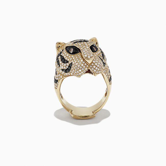 Кольцо с черными бриллиантами Тигр - Фото 2