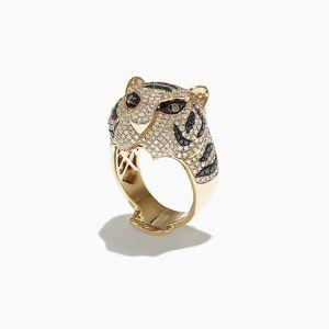 Кольцо с черными бриллиантами Тигр - Фото 1
