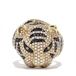 Кольцо с черными бриллиантами Тигр