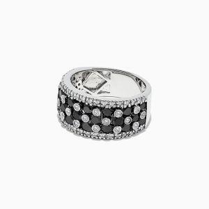 Широкое кольцо Шахматы с черными и белыми бриллиантами