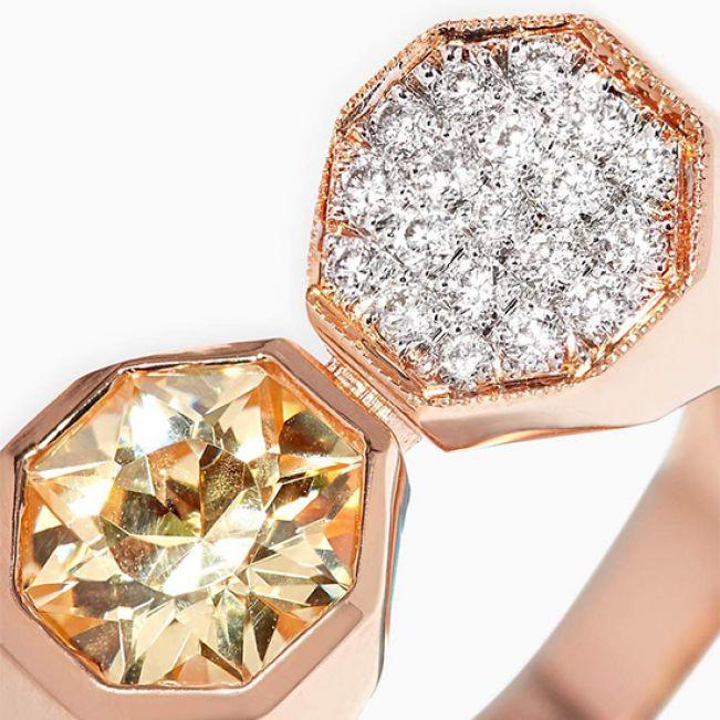 Кольцо с бриллиантами и цитрином - Фото 1