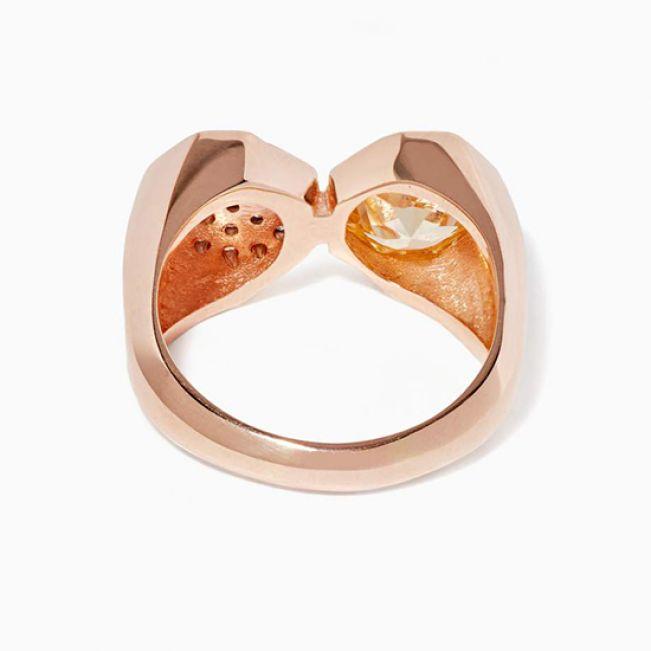 Кольцо с бриллиантами и цитрином - Фото 2