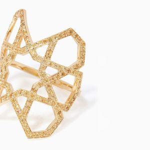 Широкое геометричное кольцо - Фото 2