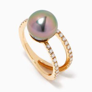 Кольцо с жемчугом и бриллиантами - Фото 1