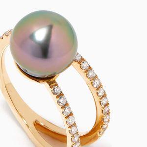 Кольцо с жемчугом и бриллиантами - Фото 2