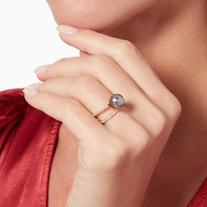 Кольцо с жемчугом и бриллиантами - Фото 3