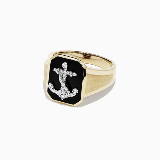 Мужское кольцо с Якорем  - Фото 1
