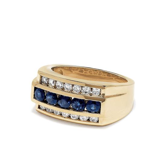 Мужское кольцо с сапфирами,  Больше Изображение 3