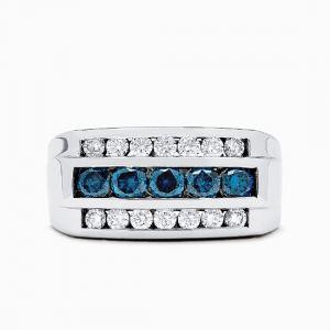 Мужское кольцо из белого золота с топазами