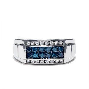 Мужское широкое кольцо с топазами