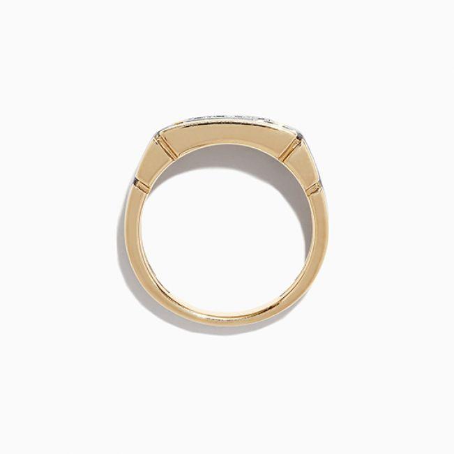 Мужское кольцо из комбинированного золота с 4 бриллиантами - Фото 1