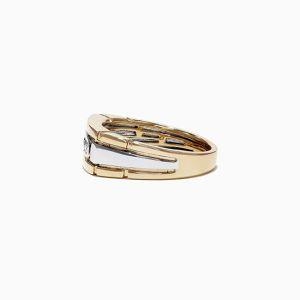 Мужское кольцо из комбинированного золота с 4 бриллиантами - Фото 2