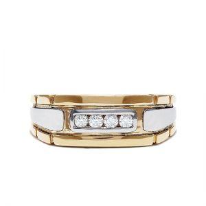 Мужское кольцо из комбинированного золота с 4 бриллиантами