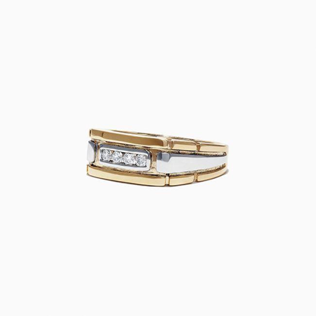 Мужское кольцо из комбинированного золота с 4 бриллиантами - Фото 3
