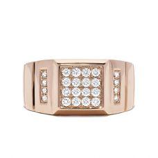 Кольцо печатка из розового золота с бриллиантами