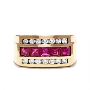 Мужское кольцо с рубинами