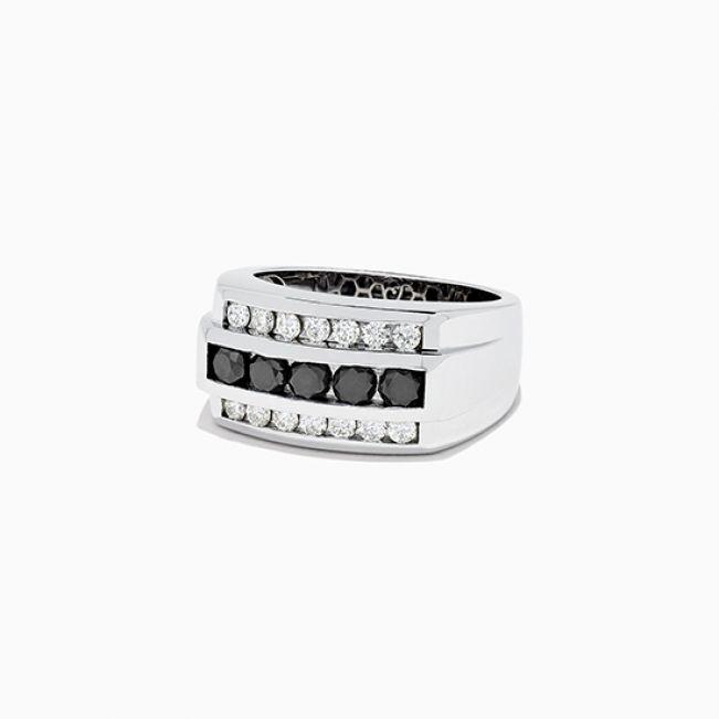 Мужское кольцо с черными бриллиантами - Фото 1