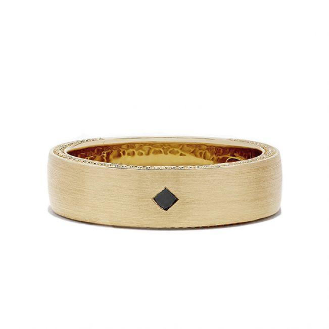 Мужское кольцо с черным бриллиантом
