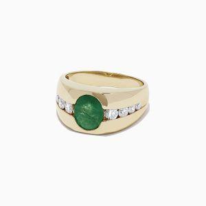 Мужское кольцо с изумрудом - Фото 1