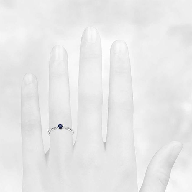 Помолвочное кольцо с сапфиром - Фото 2