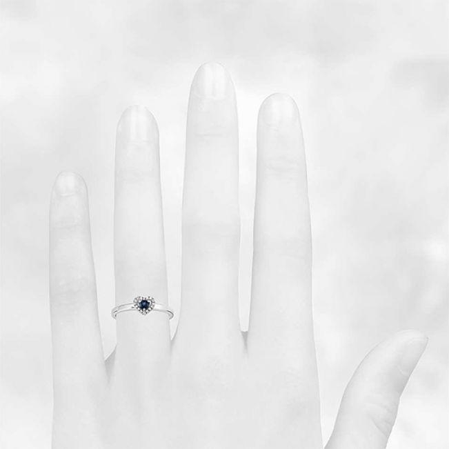 Кольцо с сапфиром и бриллиантами Сердечко - Фото 2