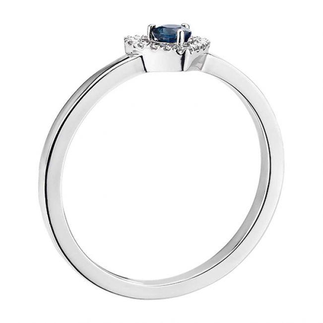 Кольцо с сапфиром и бриллиантами Сердечко - Фото 1