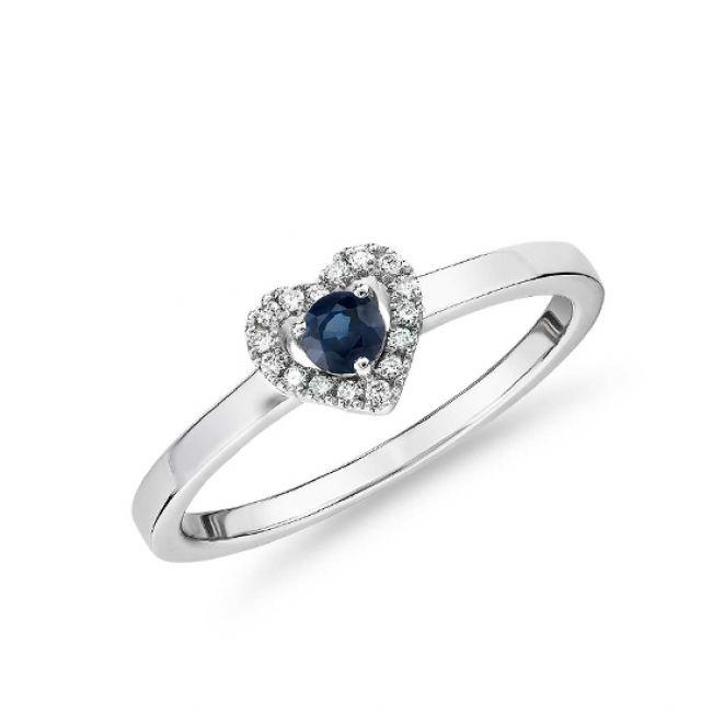 Кольцо с сапфиром и бриллиантами Сердечко