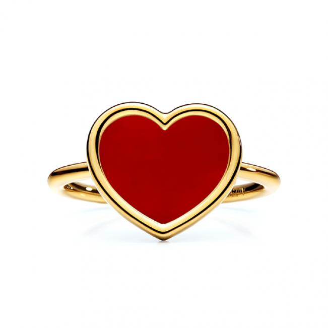 Кольцо Сердечко с эмалью